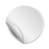 Blank, white round promotional sticker Stock Images