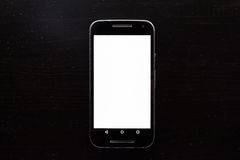 Blank White Screen Frame Cell Phone Android Black Wood Desk Royalty Free Stock Photography