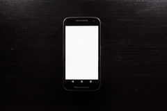 Blank White Screen Frame Cell Phone Android Black Wood Desk Stock Images