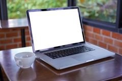 blank white screen workspace, Laptop computer advertising text m royalty free stock images