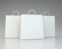 Blank white shopping paper bags set Stock Photo