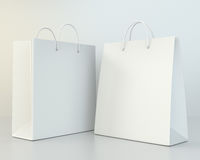 Blank white shopping paper bags set Stock Images