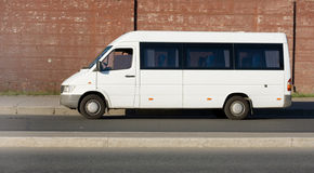 Blank white shuttle bus Royalty Free Stock Photo