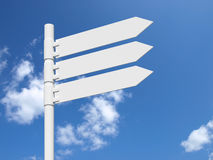 Blank white sign on a blue cloudy sky. Royalty Free Stock Photo