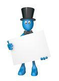 Blank white sign. Blue guy with blank sign - 3d illustration Stock Image