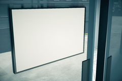 Blank white signboard on glassy door of building. Mock up stock illustration
