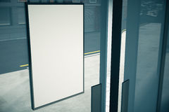 Blank white signboard on glassy wall of building, mock up, 3D re Stock Photography