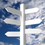 Blank white signpost on blue sky Stock Image
