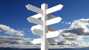 Blank white signpost on blue sky. With clouds background Stock Photo