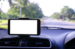 Blank white space on mobile smart phone using for GPS navigator. Selective focus shallow depth of fileld road bacground royalty free stock images