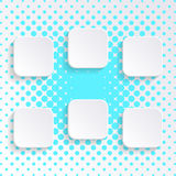 Blank white square buttons. With transparent shadows vector illustration