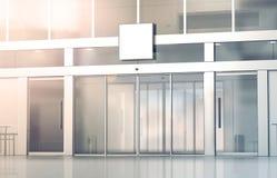 Blank white square signage mockup on store glass sliding doors. Blank white square signage mockup on the store glass sliding doors entrance, 3d rendering Royalty Free Stock Image