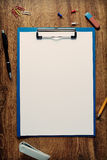Blank white standard A4 sheet in a clip folder Stock Photography