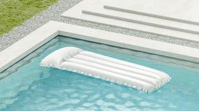 Free Blank White Swim Mattress On Blue Water In Pool Mockup Stock Photo - 156921630