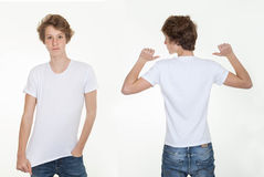 Blank white t shirt. Back and front stock photo