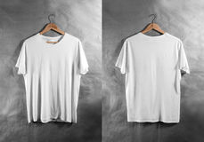 Blank white t-shirt front back side view hanger, design mockup Stock Image