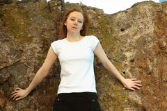 Blank white t shirt girl Stock Photos