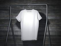 Blank white t-shirt hanging. 3d rendering royalty free illustration
