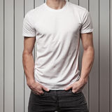 Blank white t-shirt on man`s body Royalty Free Stock Photography