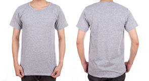 Blank white t-shirt set on man. Blank t-shirt set (front, back) on man isolated on white background Stock Images