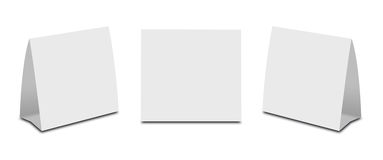 Blank White Table Tent on white. Paper vertical cards isolated  Stock Photography