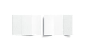 Blank white tri folded booklet mock up, opened and closed royalty free illustration