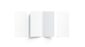 Blank white two folded booklet mock up, opened and closed. Front and back side, top view, 3d rendering. Plain twofold brochures mockups set isolated. Book Stock Photo