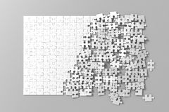 Blank white unfinished puzzles game mockup, connecting together,. 3d rendering. Clear jigsaw pieces merging, design mock up. Big desktop toy template stock images