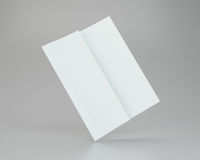 Blank white unfolded A4 paper crumpled. 3d rendering Royalty Free Stock Images