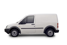Blank white van. Ready for branding with clipping paths Royalty Free Stock Photography