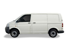 Blank white van. Ready for branding with clipping paths Stock Photo