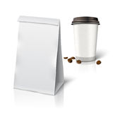 Blank white vector realistic paper packaging bag Stock Image