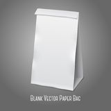 Blank white vector realistic paper packaging bag. Blank white realistic paper packaging bag with place for your design and branding. Isolated on grey background Stock Photo