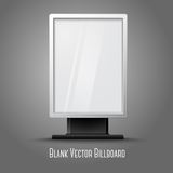 Blank white vertical billboard with place for your. Design and branding under the glass, isolated on grey background. Vector illustration Royalty Free Stock Image