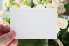 Blank white visit card template in woman`s hand with flowers on background. Mock-up Stock Image