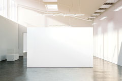 Blank white wall mockup in sunny modern empty museum. 3d rendering. Clear big stand mock up in gallery with contemporary art exhibitions. Large hall interior Royalty Free Stock Photography