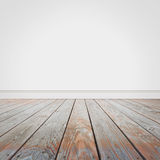Blank White Wall and Wooden Old Floor Background Stock Images