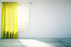 Blank white wall yellow curtain Stock Images