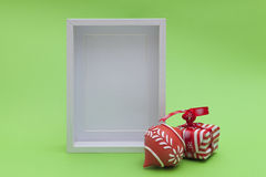 Blank white wood frame and xmas ornaments Stock Image