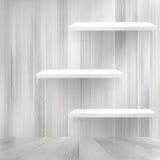 Blank white wooden bookshelf. + EPS10 Royalty Free Stock Image