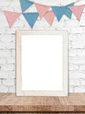 Blank white wooden frame and party flags background Stock Photography