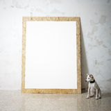 Blank white wooden natural frame and little dog Royalty Free Stock Image