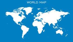Blank white world map  on blue background. Stock Photo