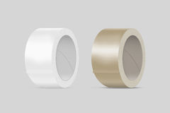 Blank white and yellow duct adhesive tape mockup, clipping path Stock Photography