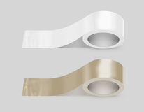 Blank white and yellow duct adhesive tape mockup, clipping path Royalty Free Stock Photos