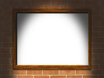 Blank whiteboard brick wall  Stock Image
