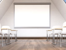 Blank whiteboard in classroom interior Royalty Free Stock Photos