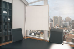 Blank whiteboard in conference room. Closeup of blank whiteboard stand in conference room interior with city view. Mock up, 3D Rendering Stock Photos
