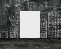 Blank whiteboard with doodles wall on dark  concrete room Royalty Free Stock Photos