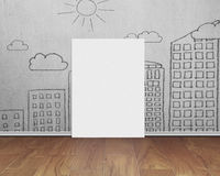 Blank whiteboard with doodles wall on wooden floor Royalty Free Stock Photos